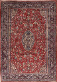Floral Red Sarouk Persian Hand-Knotted 9x13 Wool Area Rug