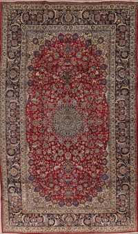 Floral Red Najafabad Persian Hand-Knotted 10x17 Wool Rug