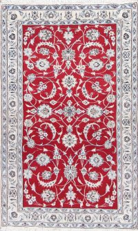 Floral Red Nain Persian Hand-Knotted 4x7 Wool Area Rug