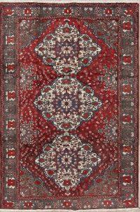Geometric Red Bakhtiari Saman Persian Hand-Knotted 7x10 Wool Area Rug