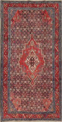 Antique Geometric Bakhtiari Persian Hand-Knotted 5x10 Wool Runner Rug