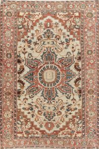 Antique Pre-1900 Vegetable Dye Heriz Serapi Persian 10x15 Wool Rug