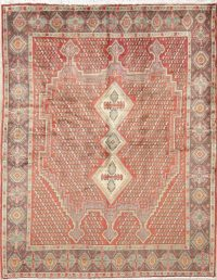Geometric Red Sirjan Persian Hand-Knotted 5x6 Wool Area Rug