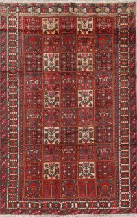 Garden Design Red Bakhtiari Persian Hand-Knotted 6x10 Wool Area Rug