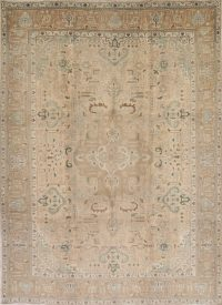 Muted Color Geometric Tabriz Persian Hand-Knotted 10x13 Wool Area Rug