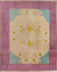 Muted Geometric Tabriz Persian Hand-Knotted 10x13 Wool Area Rug