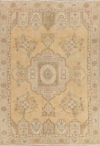 Muted Tabriz Persian Hand-Knotted 6x9 Wool Distressed Area Rug