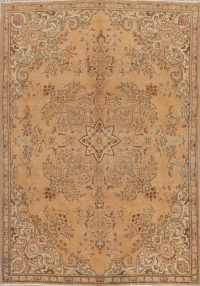 Muted Tabriz Persian Hand-Knotted 7x11 Wool Distressed Area Rug