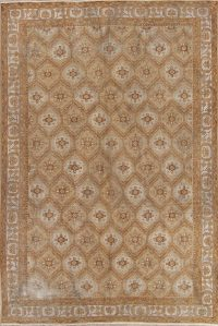 Muted Ferdos Persian Hand-Knotted 7x10 Wool Distressed Area Rug