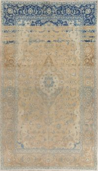 Muted Kashan Persian Hand-Knotted 6x11 Wool Distressed Area Rug