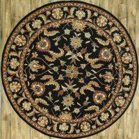 Black Floral Round 10x10 Hand-Tufted Oriental Wool Rug