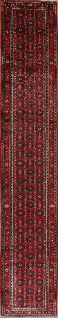All-Over 17 ft Long Runner Hamedan Persian Wool Rug