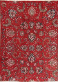 Floral Red Tabriz Persian Hand-Knotted Area Rug Wool 6x9