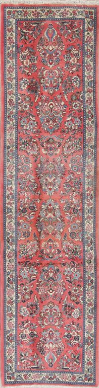 Floral Pink Sarouk Persian Hand-Made Runner Rug Wool 3x10