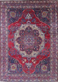 Pre-1900 Vegetable Dye Yazd Antique Persian Hand-Knotted  11x15 Wool Area Rug