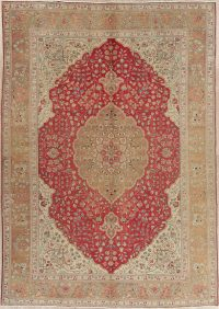 Floral Red Tabriz Persian Hand-Knotted 8x11 Wool Area Rug
