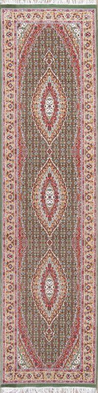 Geometric Green Tabriz Persian Runner Rug