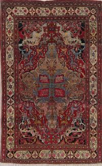 Pre-1900 Vegetable Dye Isfahan Ahmad Persian 4x7 Wool Area Rug