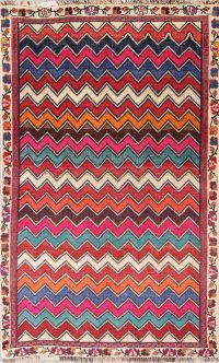 Geometric Gabbeh Persian Hand-Knotted 3x5 Wool Rug