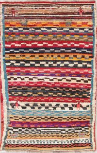 Multi-Color Gabbeh Persian Hand-Knotted 4x5 Wool Area Rug