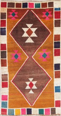 Geometric Multi-Color Gabbeh Persian Hand-Knotted 3X5 Wool Rug