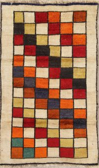Checked Gabbeh Persian Hand-Knotted 3x5 Wool Rug