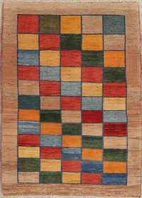 Checked Gabbeh Persian Hand-Knotted 4x5 Wool Area Rug