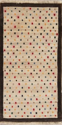 All-Over Geometric Gabbeh Persian Hand-Knotted 3x5 Wool Rug