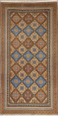 Geometric Yazd Persian Hand-Knotted 3x5 Wool Rug