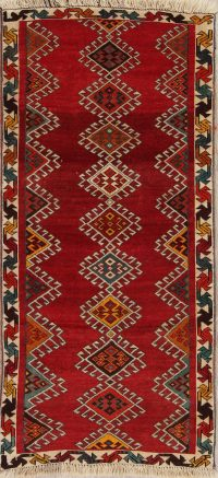 Geometric Gabbeh Persian Hand-Knotted 3x6 Wool Runner Rug