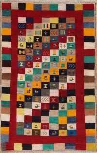 Tribal Checked Gabbeh Persian Hand-Knotted 3x5 Wool Rug