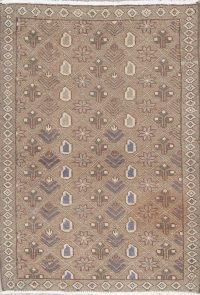 Muted Light Brown Hamedan Persian Distressed Rug 3x4