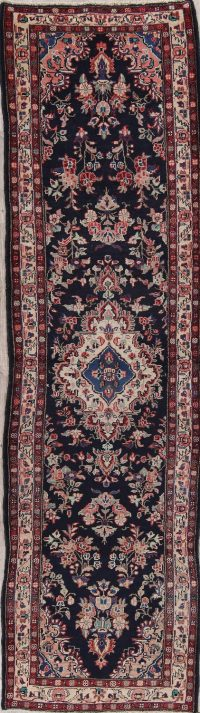 Navy Blue Lilian Persian Runner Rug 3x10