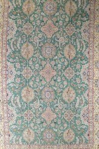 Palace Sized Wool/Silk Nain Persian Green Rug 16x26