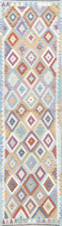 Flat-Weave Kilim Turkish Runner Rug Wool 3x9