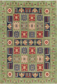Green Patch-Work Kazak-Chechen Oriental Area Rug 7x10