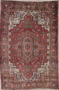 Red Heriz Persian Wool Rug 7x11