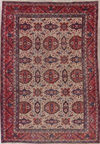 Geometric Antique Heriz Persian Wool Rug 8x11