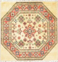 Geometric Kazak-Chechen Oriental Rug 3x3 Square