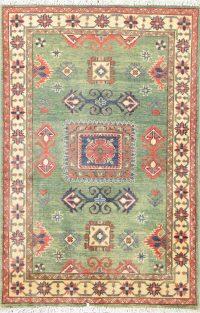 Green Geometric Kazak Pakistan Wool Rug 3x5