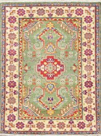 Green Kazak-Chechen Oriental Rug 3x4