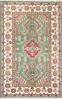 Green Geometric Kazak Pakistan Wool Rug 3x4