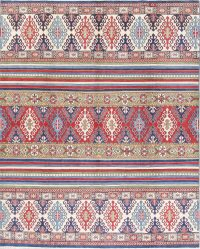Geometric Kazak Pakistan Wool Rug 8x10
