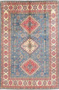 Blue Geometric Kazak Pakistan Wool Rug 8x11