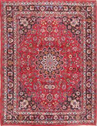 Vintage Floral Mashad Persian Hand-Knotted 10x13 Wool Area Rug