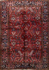 Vintage Geometric Heriz Red Persian Area Rug 6x9