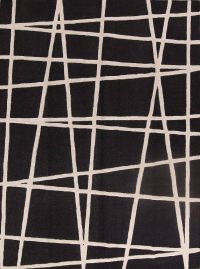 Geometric Black Trellis Indian Oriental Hand-Tufted Area Rug Wool 9x12