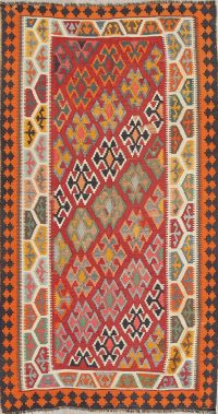 Vintage Geometric Kilim Qashqai Persian Area Rug 5x8