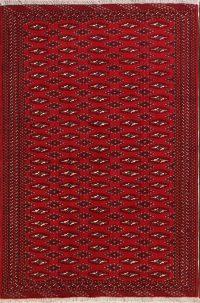Red Geometric Balouch Bokhara Persian Area Rug 4x6