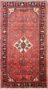 Vintage Geometric Hamedan Persian Runner Rug 4x8